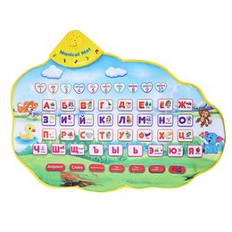 Wholesale Learning Blanket - Wholesale- Baby Russian Musical Play Mat Animal Sound Blanket Learning Toy Alphabet Baby Play Mats ABC Carpet Educational Toys Kids Gifts