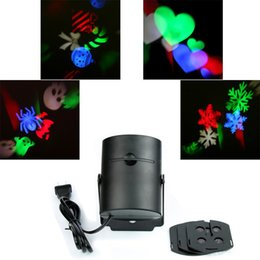 Wholesale Laser Skull - 4PCS Switchable Pattern Lens Wall Lamp Led Projector Laser Light Snowflake Heart-shaped Candy Skull Halloween Christmas Decoration Light