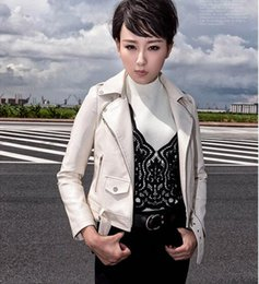 Wholesale Leather Jacket Woman Spikes - Women's punk Motorcycle PU Leather Spike Jacket autumn winter european style clothing outerwear women coats white black