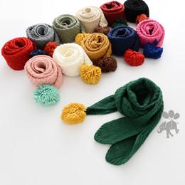 Wholesale Scarves Balls - pompon Baby Girls Scarf ball Knit Children Scarfs Winter Bunny Ear knitted Warm Kids neckerchief C2453