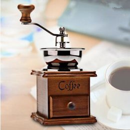 Wholesale Wooden Coffee Grinders - Classical Wooden Mini Manual Coffee Grinder Stainless Steel Retro Coffee Mill Hand Coffee Grinder CCA7032 36pcs