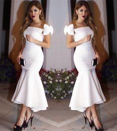 Wholesale Mermaid Tea Party - White Short Mermaid Party Dresses With Bow On Shoulder 2017 Bateau Sheath Tea Length Prom Dresses Evening Formal Dresses Cheap