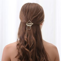 Wholesale Copper Hair Pins - Women Gold Barrette Geometric Gold Hair Pins and Clips Fashion Head Jewelry 2H4013