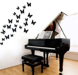 Wholesale wholesale poster light box - 12Pcs PVC 3D Wonderful Art Butterfly Design Wall Stickers Decals Home Decor Poster for Rooms wedding wall Decorations
