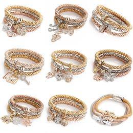 Wholesale shambhala set - Fashion Shambhala Bracelet Bangles Elastic Stretch Bracelet Crystal Animla Heart Note Key Charms Popcorn Bracelet Women Jewelry 1set lot