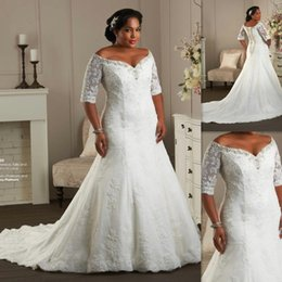 Wholesale Korean Brides Dresses - Hot Sale Plus Size Wedding Dresses Half Sleeves Off The Shoulder Bodice Lace Bridal Gowns 2017 Maxi Big Size Elegant Korean Bride Dresses
