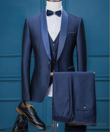Wholesale Cheap Wool Pants - Handsome Royal Blue Wedding Tuxedos Slim Fit Pattern Laple Suits For Men Cheap One Button Groom Tuxedos Only The Jacket ,Pants and Vest