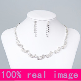 Wholesale Crystal Bridal Jewelry Free Shipping - 15050 Cheap Rhinestone Bridal Jewelry Sets Earrings Necklace Crystal Bridal Prom Party Pageant Girls Wedding Accessories Free Shipping