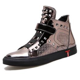Wholesale Rivets Gun - men casual shoes shiny leather gun metal color high top plain shoes rivet man's quality hip hop shoes zapatillas hombre