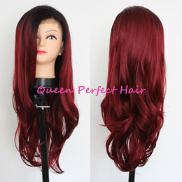 Wholesale Good Cheap Lace Front Wigs - Synthetic Lace Front Wigs Heat Resistant 180% Density Long Body Wave Two Tone Ombre Color Cheap Good Quality Wig For Fashion Black Women