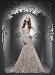 Wholesale Ersa Atelier Wedding Dresses - Mermaid Wedding Dresses 2017 Ersa Atelier with Long Sleeves and Sexy Open Back Fully Lace Elegant vestidos de novia with Sweep Train
