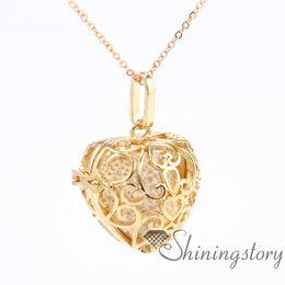 Wholesale rose oil perfume - heart diffuser necklace diffuser locket wholesale perfume necklace essential oils jewelry openwork metal volcanic stone necklaces pendants