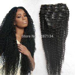 Wholesale Human Hair Extensions Full Set - Wholesale-Wholesale Cheap Afro Kinky Curly Clip In Human Remy Hair Extension 9pcs set Full Head Sexy Afro Curl Virgin Brazilian Hair