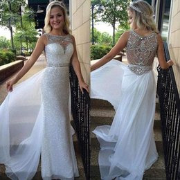 Wholesale Sheer Leather Dress - White Sequins Crystal Beaded Chiffon Evening Dresses 2016 Boat Neck Sweetheart Party Dresses Sheer Illusion Long Pageant Prom Gowns JB964