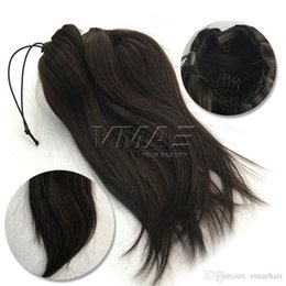 "Wholesale Human Hair Straight Drawstring Ponytail - Straight Clip in Drawstring Human Ponytails 16"" 120g Brazilian Ponytails Natural Color #6 #12 #613 Virgin Human Hair VMAE Hair"