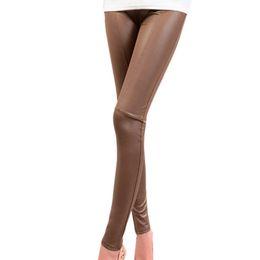 Wholesale Leather Leggings Xxl - Wholesale- Fashion Women Autumn Winter Faux Leather Leggings Sexy Lady Stretch Plus Size Leggings Pants M-XXL ht
