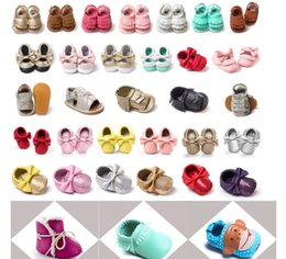 Wholesale Sequins Lace Fringe - 4th of July ins Suede Leather Baby Lace Up Shoes bow Tassels Fringe maccasions shoes infant leopard camouflage sequins walking shoes