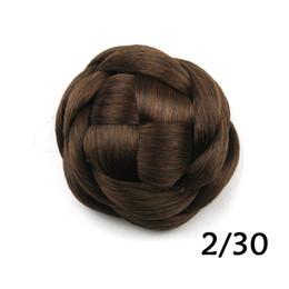 Hellbraunes flechthaar online-Großhandel-hellbraune geflochtene Haarteile, Haarknoten Chignon, Haarknoten, Kunsthaar Haargummis, Farbe 2/30