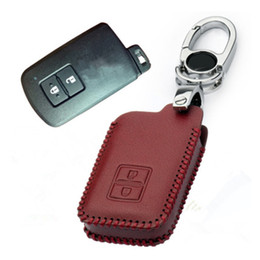 Wholesale camry remote key - Car Genuine Leather Bag Remote Control Car Keychain Key Cover Case For Toyota Land Cruiser Camry 2Button Smart Key S154