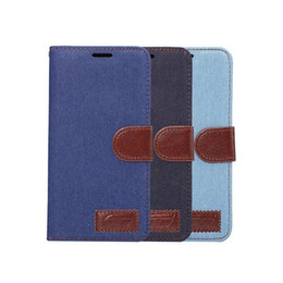 Wholesale Case Jean Iphone - Jean PU leather Case for iphone 7 plus with Card Slot Holder Flip Wallet Cover for Samsung GALAXY Note 7 20PCS UP