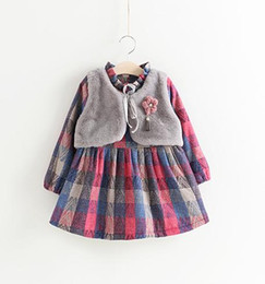 Wholesale Kids Girl Winter Long Dresses - Girls Checker Dresses Fur Waistcoats Fake Two Piece 2017 Winter Kids Boutique Clothes 2-7Y Girls Long Sleeves Dresses High Quality