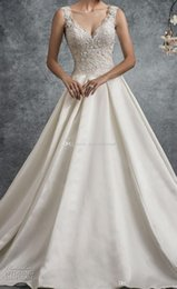 Wholesale Thick Satin Wedding Gowns - heavily embellished bodice satin skirt keyhole back wedding dresses 2018 romantic princess a line sleeveless thick strap v neck wedding gown