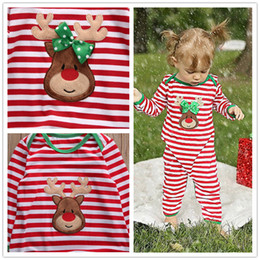 Wholesale printed pajamas - Striped Christmas Family Pajamas Set deer printed sets Kids fashion rompers baby girls boys Nightwear Cotton jumpsuit green red outfits