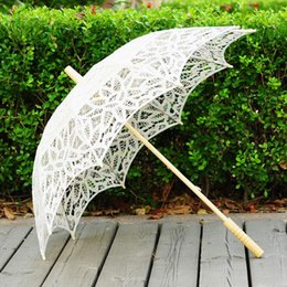 Wholesale Wholesale Embroidery Wedding Lace Fabric - Lace Parasol Umbrella Handmade Wedding Umbrellas Lace Cotton Embroidery Bridal Umbrella Embroidered Lace Umbrellas 3 Colors 20pcs OOA2889