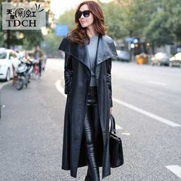 Wholesale Double Breasted Leather Belt - Wholesale-Ladies Leather Trench Coat Women Winter 2016 Long Trench Coat Fashion Double Breasted Plus Size British Style Trench Coats H6943