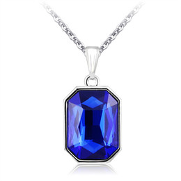 Wholesale Blue Collares - Women Girl's Platinum Blue Austrian Crystal Charm Chain Necklace White Gold Plated Rhinestone Pendants Jewelry Collares Mujer