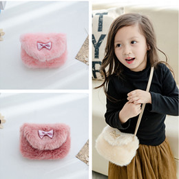 Wholesale Children Plain Stocking - In Stock Cheap High Quality Plush Handbags Imitation Fur Princess Messenger Bag Girls Purse Wallet Children Bag Wholesale