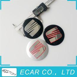 Wholesale Sticker Domed - Car Styling 4 x 90mm SEAT Wheel Center Caps Badge Stickers Aluminium Domed Hub Emblem