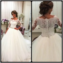 Wholesale Noble Training - Hot Sale Noble Elegant Three Quarter vestido de noiva Ball Gown Lace Appliques Beaded Sashes Tulle Wedding Dresses 2017