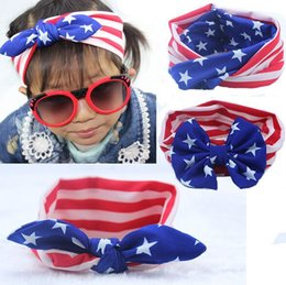 Wholesale Ear Bunny - Newly 3Styles American Flag Headbands 4th of July Independence Day Knotted Headband with Gair Bow Bunny Ear American Flag Hair Accessories