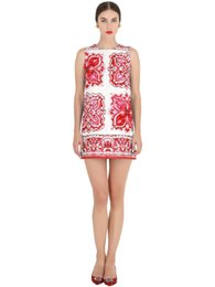 Wholesale Hot Spandex Mini Skirts - 2016 New hot wlmonsoon red and blue cute skirt women mother Sleeveless flower printing Dobby one-piece dress skirt party dress a0041