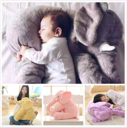 Wholesale Elephant Baby Bedding - 60cm Long Nose Plush Elephant Toy Lumbar Elephant Pillow Baby Appress Doll Bed Cushion Kids Toy Gift 5 Colors 60pcs OOA3246