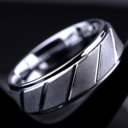Wholesale Biker Rings Men - BC Fashion jewelry 8mm Wide Silver Plated Stainless Steel biker Middle Finger Frosted Ring for Men Women Friend Gift BC-234