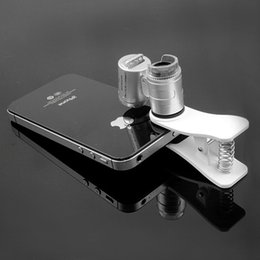 Wholesale Mini Led Clip Light - Fashion Mini Money Tester 60X Pocket Microscope Magnifier Loupe Glass LED Light UV with clip