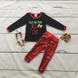 Wholesale Girls Nice Tops - Wholesale- new year baby girls Fall Winter i'm on the nice list cotton clothing outfits children top bow with Sequins pant with accessories