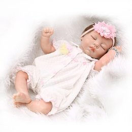 Wholesale Girl Playing Toys Cartoon - New Style Half Vinyl Body Baby Doll Toy Brinquedo Girls Birthday Gift Play Doll 22 inch Sleeping Bebe Silicone Reborn Baby Doll