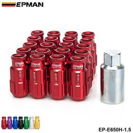 Wholesale Race Wheels - EPMAN -Racing Lug Nuts Aluminum 20PCS 12X1.5MM Open End Extenede Turner With Key For Honda Toyota Wheel Nuts Screw EP-E650H-1.5