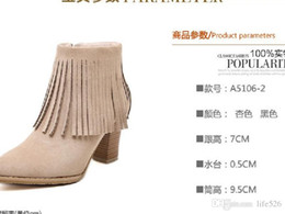 Wholesale Korean High Heels Boot - 2016 freeshipping Korean winter high-heeled boots flock female pointy black tassel boots sexy Martin female nude boots M044