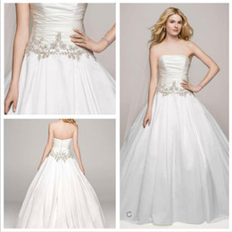 Wholesale Champagne Accent Wedding Dress - 2016 Satin Ball Gown Wedding Dresses Strapless neckline with pleat bodice and beaded accents on the waist AI10012326 gowns