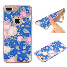 Wholesale Gold Coated Roses - printing flower Leather Coated TPU Phone Case For Iphone 7 6s 6 Plus Simple Soft shell And Slim back cover Samsung Galaxy S8 Plus