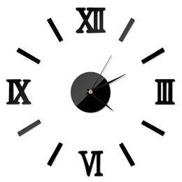 2020 números de adesivo de parede Nova Moda Chique Número Prata Numeral Romano Numeral Do Vintage Relógio de Parede Sem Moldura 3D Home Decor Alta Qualidade TY898 números de adesivo de parede barato
