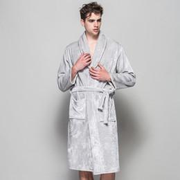 Wholesale Men Polyester Bathrobes - Wholesale-2016 Soft Quality Flannel Robes Man Black Grey Home Cloth Winter Long Bath Robes For Men Plug Size Spa Bathrobes