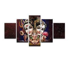 Hd pinturas florales online-Decoración de la pared de lona de las imágenes modulares 5 pedazos de Shiva Parvati Ganesha pinturas de la sala de estar HD Impreso cartel PENGDA