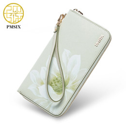Wholesale Cattle Brands - Wholesale- Pmsix Brand Zipper Women Leather Clutch Wallet Cattle Split Leather Chinese Wind Flower Ladies Retro Clutch Money Bag P420001