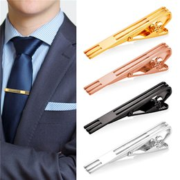 Wholesale Copper Tie - New 18K Gold Plated Platinum Plated Rose Gold  Black Hollow Mens Hinged Tie Clip Tacks Jewelry