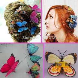 Wholesale Corsage Photos - 2016 New Silk Flowers Artificial Butterfly Corsage 8cm 3d Pin Clip Single Wing For Home Wedding Decorations Photo Booth Props
